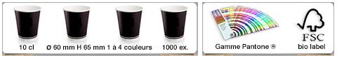 Gobelets publicitaires personnalisés d'une contenance de 120ml