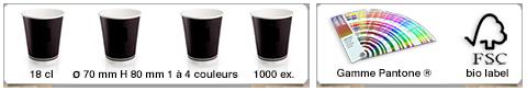 Gobelets publicitaires personnalisés d'une contenance de 192ml