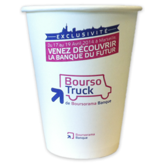 Gobelet en carton personnalisé pour les sodas. 20cl, Boursorama