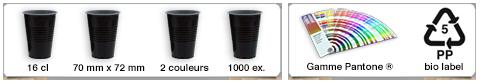 Gobelets publicitaires personnalisés d'une contenance de 16cl