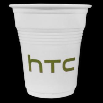 Gobelet en plastique blanc strié personnalisé. 15cl, HTC