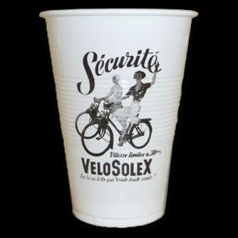 Gobelet en plastique blanc strié personnalisé. 20cl, vélosolex
