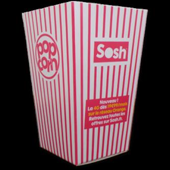 boîte moyenne pour popcorn personnalisée en carton, Sosh